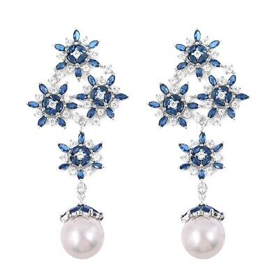 Cluster Earrings Round Pear White Shell Pearl Jewelry Gift for Women Cttw -