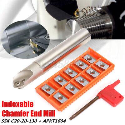 12pcs 45 Centering Chamfer End Mill Set Cutter Holder Blade Insert T15 Wrench