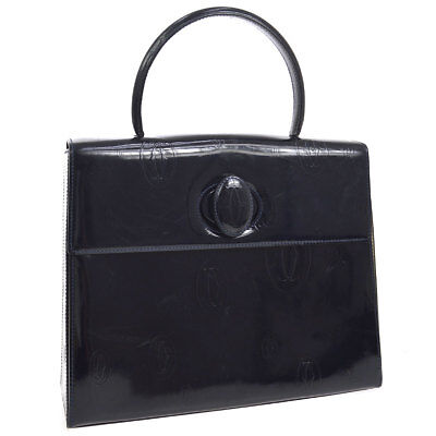 Authentic Cartier Happy Birthday Hand Bag Navy Patent Leather Vintage AK25810g
