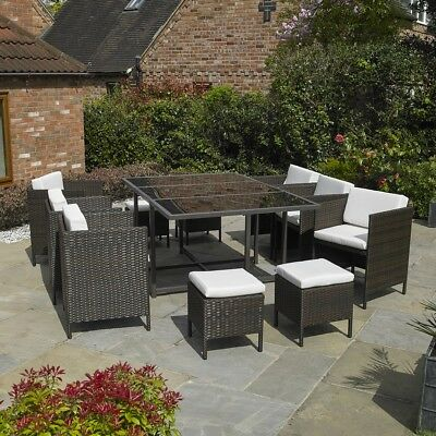 PREMIUM 11 PC BROWN RATTAN CUBE TABLE CHAIR GARDEN PATIO OUTDOOR FURNITURE SET
