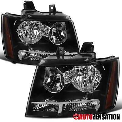 For 2007-2014 Chevy Tahoe Suburban Black Headlights Amber Parking Lamps
