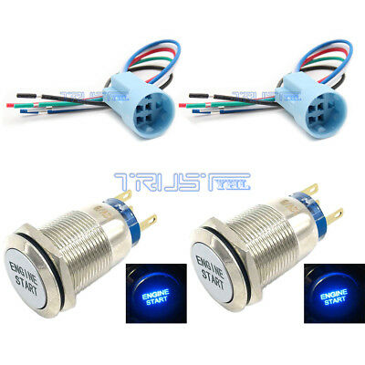 19mm Socket Plug+ Momentary ENGINE START Metal Switch Push Button Lighted