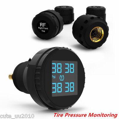 Car TPMS Tire Pressure Monitoring System Wireless 4 Sensors Cigarette Lighter