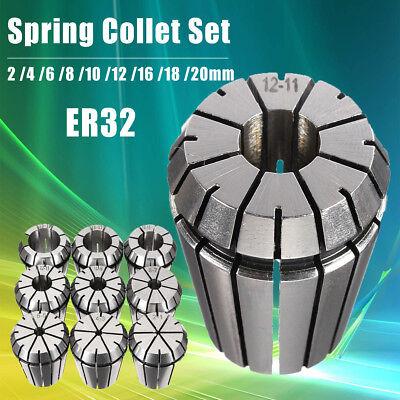 9pcs Er32 Precision Spring Collet 24681012161820mm Workholding Tools