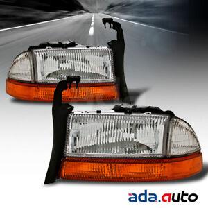 1998-2004 Dodge Dakota Durango Headlights + Corner Signal Lamps Left Right Side