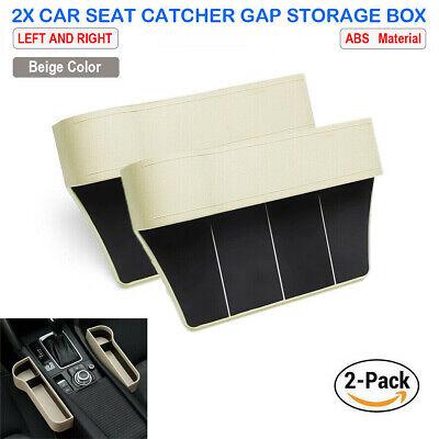 2X Car Seat Gap Catcher Filler Storage Box Pocket Organizer Holder ABS Beige SUV