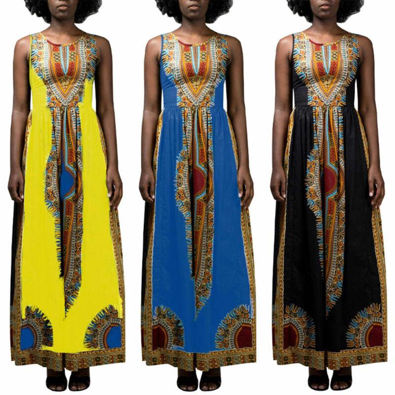 Damen Afrikanisch Maxikleid Ärmellos Sommerkleid Totem-Druck Kaftan Partykleider
