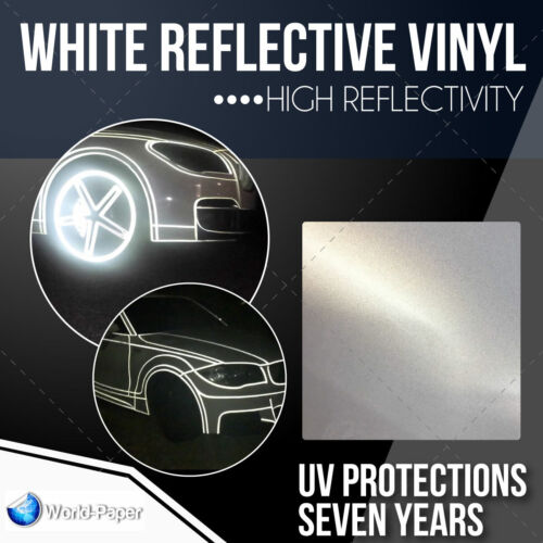 "Reflective WHITE sign Vinyl Adhesive safety Plotter cutter  12"" x 10 feet"