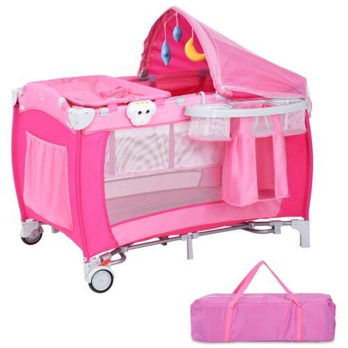 Baby Crib Foldable Playpen Infant Bed Bassinet Portable Newborn Nursery Table