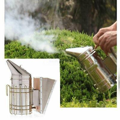 Calming Stainless Steel Bee Hive Smoker W Heat Shield Board Beekeeping Protecte