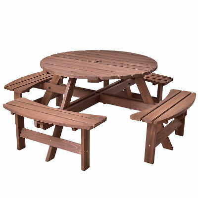Round Picnic Bench (Patio 8 Seat Wood Picnic Table Beer Dining Seat Bench Set Pub Garden Yard )