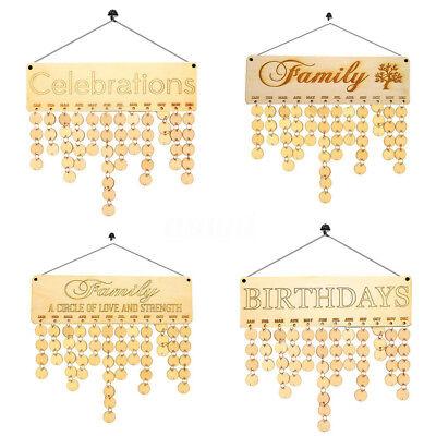 Wood Birthday Reminder Wood Plaque Board Sign Family DIY Calendar Home Decor ! (Birthday Board)