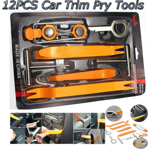 Car Parts - 12pcs Car Door Clip Panel Dash Radio Moulding Audio Removal Pry Trim Tools Kit