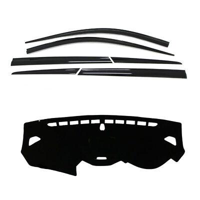 Smoke Weather shields 6p with Black Dash Mats for 2013 ~ 2015 Hyundai Santa Fe .