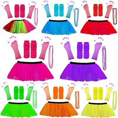 NEON 80s FANCY DRESS TUTU SET GLOVES LEG WARMERS AND BEADS HEN PARTY COSTUME - 1980's Costume Party