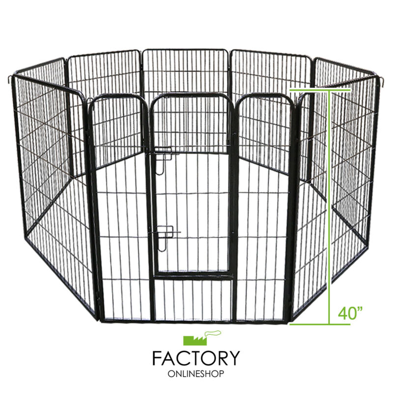 Metal 40 Inch Pet Dog Playpen Folding Kennel Exercise Crate Fence Cage 8 Panels