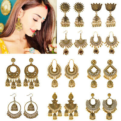 Indian 22K Gold Plated Earrings Jhumka Drop Dangle Bollywood Women Stud