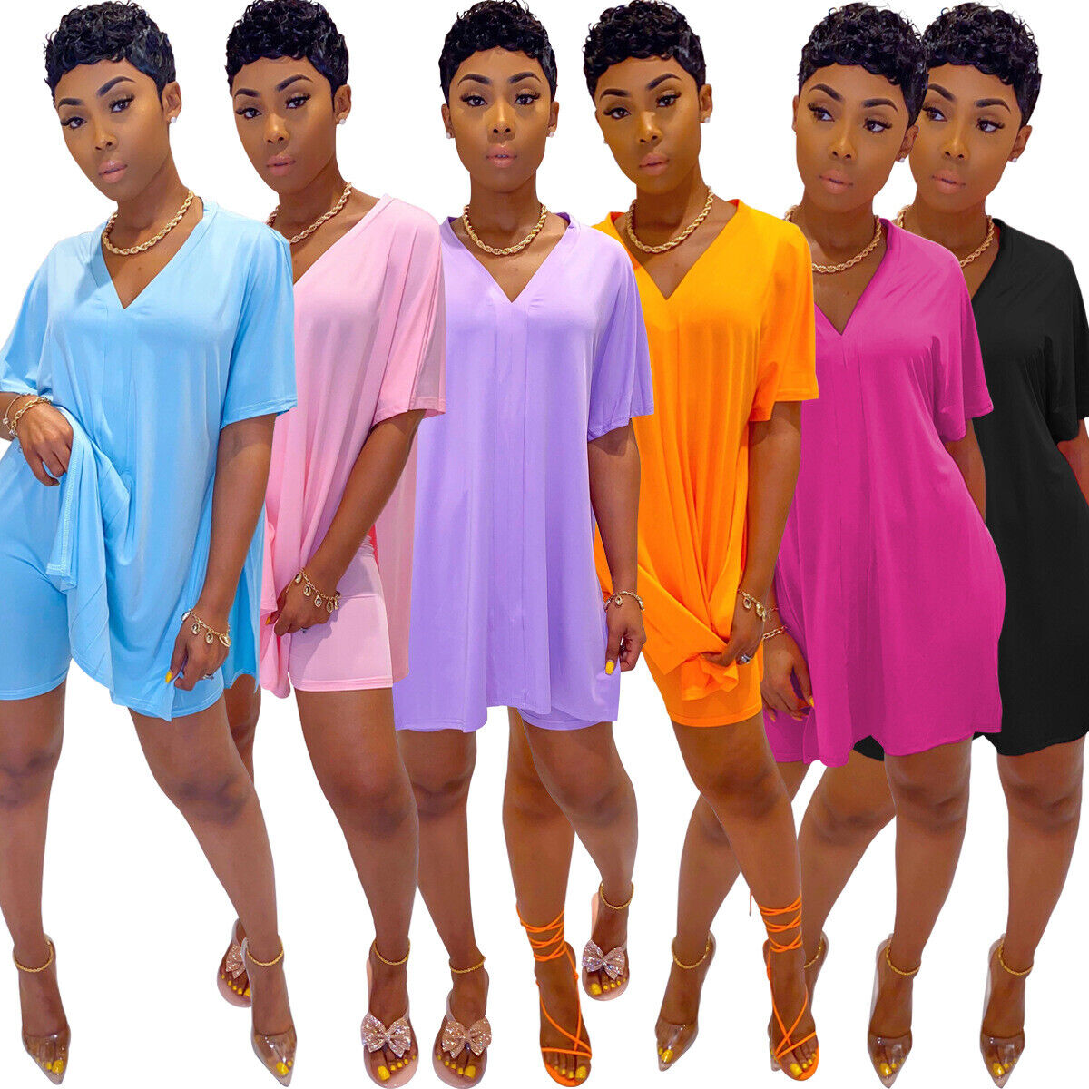 Women Short Sleeves V Neck Stripes Casual Club Party Side Slit Loose Long Dress