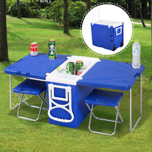 Multi Function Rolling Cooler Picnic Camping Outdoor w/ Table /w 2 Chairs Blue