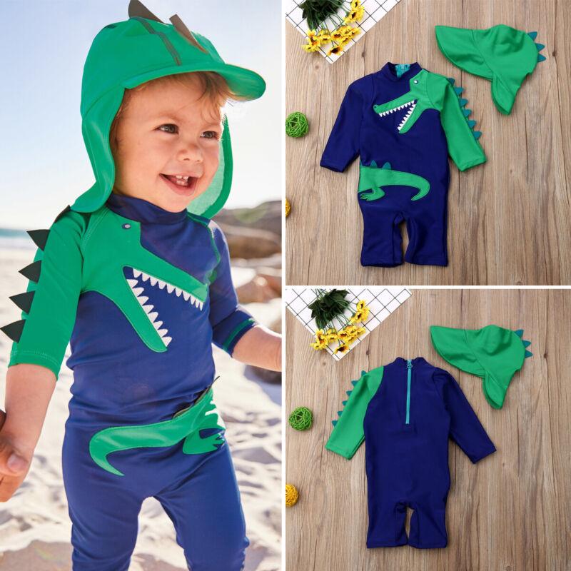 UK Baby Kids Boy Summer Beach Swimwear Swimsuit Swimming Costume Trunks+Cap Set