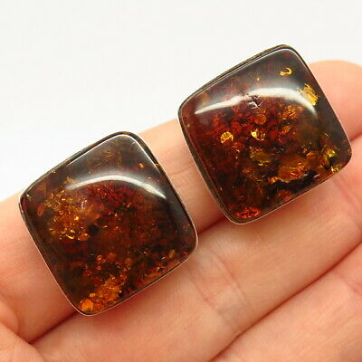 925 Sterling Silver Vintage Real Amber Clip On Earrings