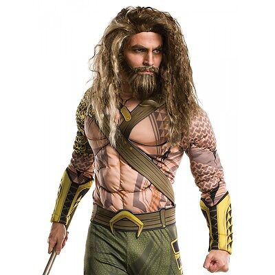 Aquaman Costume Wig and Beard Adult Batman v Superman Halloween Fancy Dress
