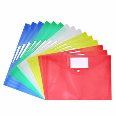 15pcs Clear Document Folder A4 Size with Snap Button Tag Pocket File Envelope