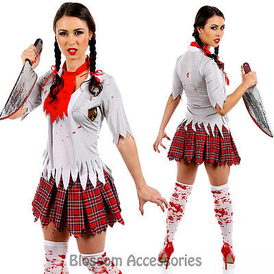 I91 Zombie Bloody School Girl Fancy Dress Horror Scary Halloween Costume Outfit