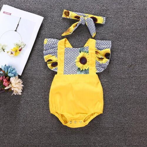 Kids Toddler Newborn Baby Girls Romper Dress+ Headband Sunfl