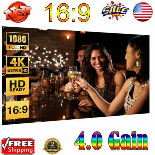 "50/60/72/84/100/120"" Projector Screen 16:9 Projection HD Man"