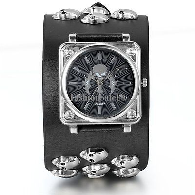 Men's Gothic Skull Sword Quartz Punk Wrist Watch Wide Black Leather Strap (Skull Cuff Watch)