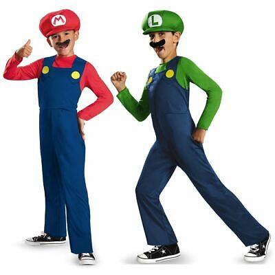 Mario Luigi Costume Boys Kids OFFICIALLY LICENSED USA Super Mario Brothers