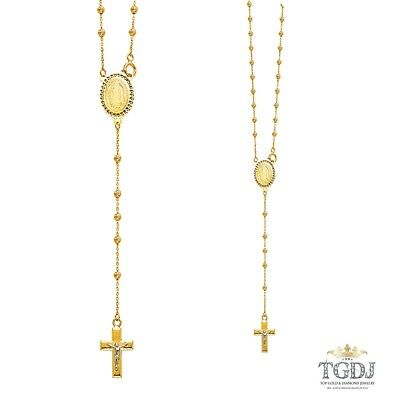 14K Yellow Gold 2.5mm Beads Ball Rosary Necklace - 20