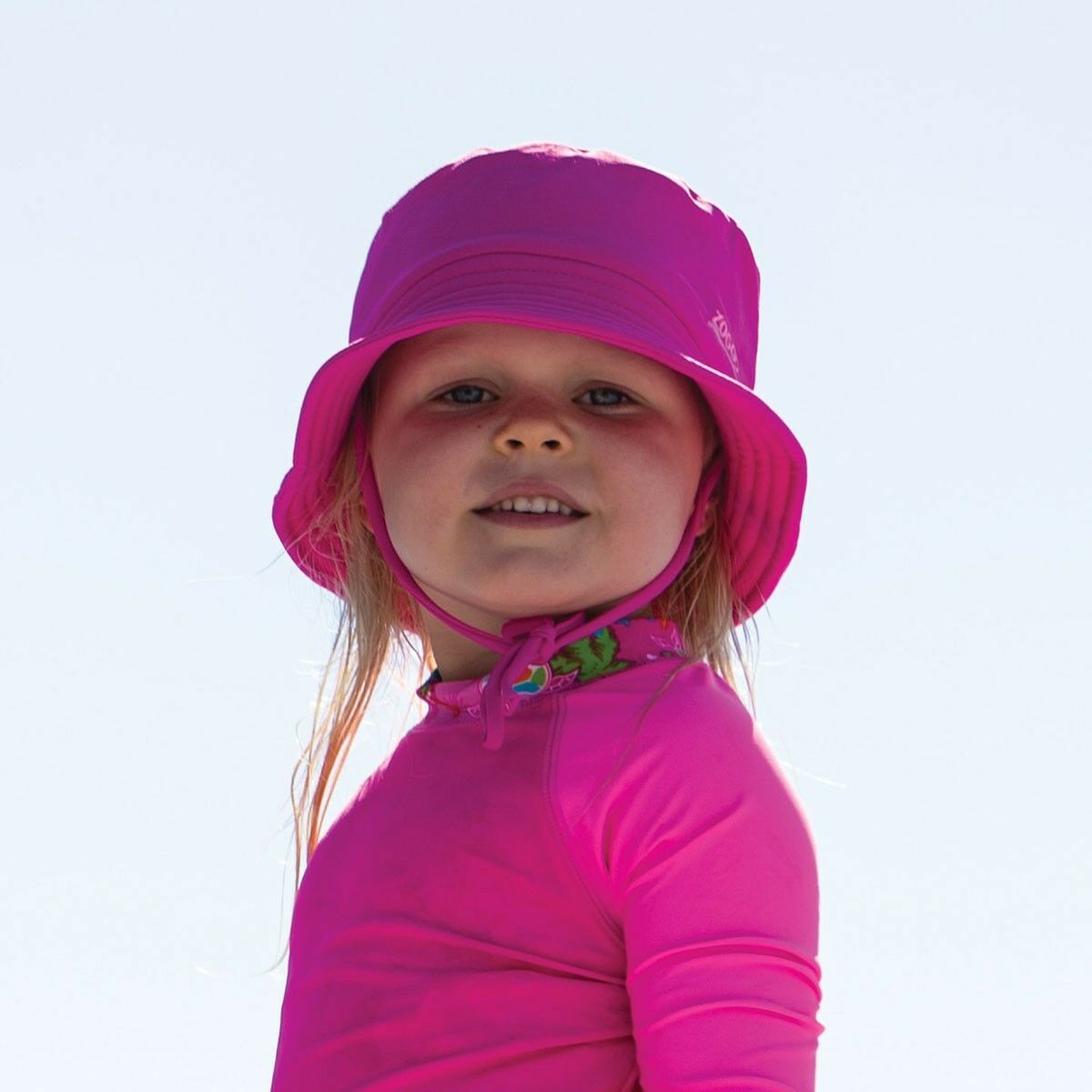 Details about New Zoggs Sun Bucket Hat In Navy   Pink - Swimming Hat For  Kids For Pool Swim 9ca86610295