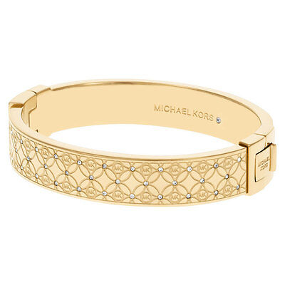 Michael Kors MKJ4471710 Lady's Gold Tone Crystal Bangle Bracelet