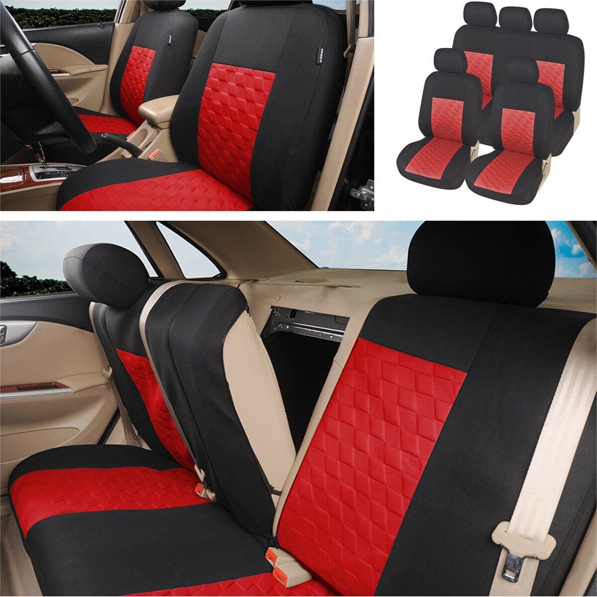 Polyester Car Seat Cover 9PCS Protector Cover Fit for Nissan Rogue Sentra Kicks