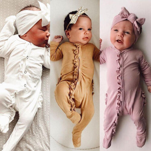 Newborn Infant Baby Girl Romper+Headband Bodysuit Jumpsuit O