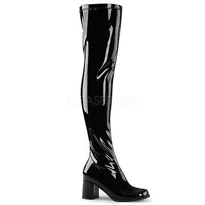 Thigh High Gogo Boots (Sexy Black Retro 70's Gogo Dancer Halloween Costume Thigh High Boots)