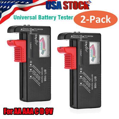 2x AA AAA C D 9V Universal Battery Volt Checker Tester Button Cell Batteries USA