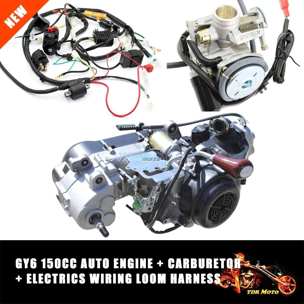 Gy6 150cc Fully Auto Reverse Gear Engine Wiring Loom Harness Vehicle Carburetor