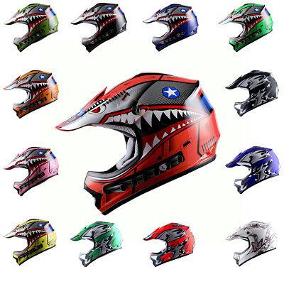 Youth Motocross Helmet ATV MX BMX Bike Kids Shark Star Black Blue Red Pink Green - Child Star