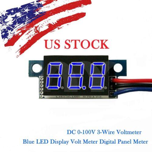Blue LED DC 0-100V Voltmeter Digital Display Voltage VOLT METER 3-Wire
