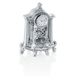 Table Clock in Silver Resin Baroque Style Italian Hand Made