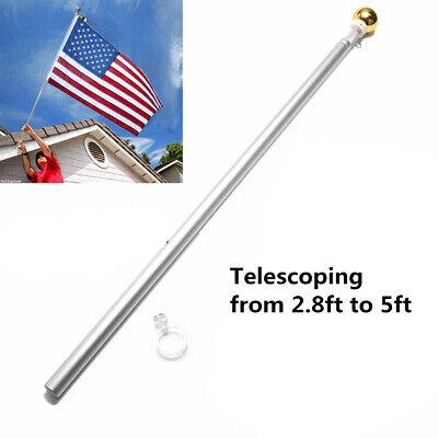 Aluminum 5FT Silver Brushed Telescoping Flag Pole Flagpole K