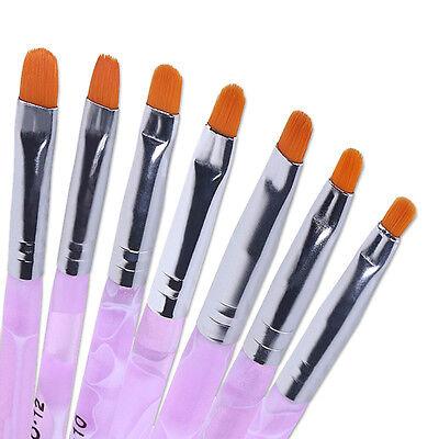 7 teiliges UV Gel Pinsel Set Gelpinsel Nail Art Pink rosa marmoriert Größen