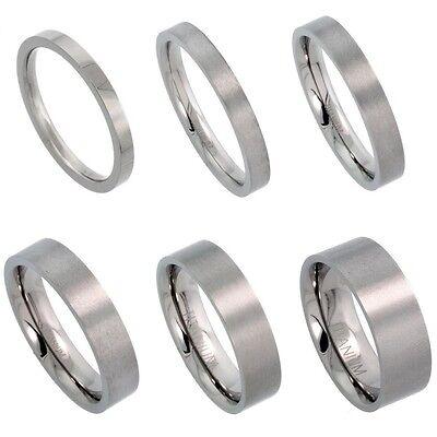 2mm to 8mm Titanium Flat Wedding Band / Thumb Ring, Matte Finish Comfort Fit 2 Mm Thumb Ring