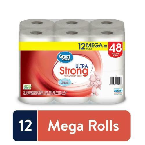 Great Value Ultra Strong Premium Toilet Paper, 12 Mega Rolls. Bath Tissue