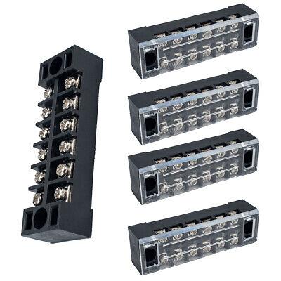 5 Pcs Dual Row Tb-1506 Screw Terminal Electric Barrier Strip Block 600v 15a