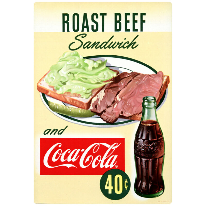 Coca-Cola Roast Beef Sandwich Wall Decal 1950s Diner 16 x 24 Vintage Style