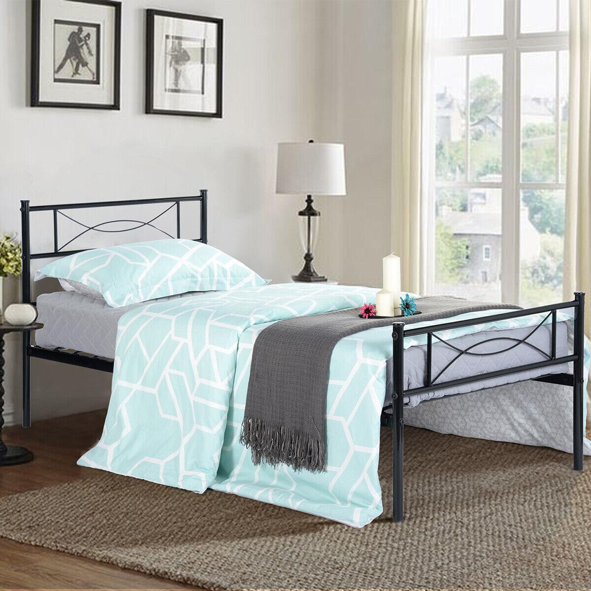 Twin Full Queen Size Metal Bed Frame Matte Steel W/ Headboar